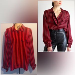 Vintage Red and black stripped top